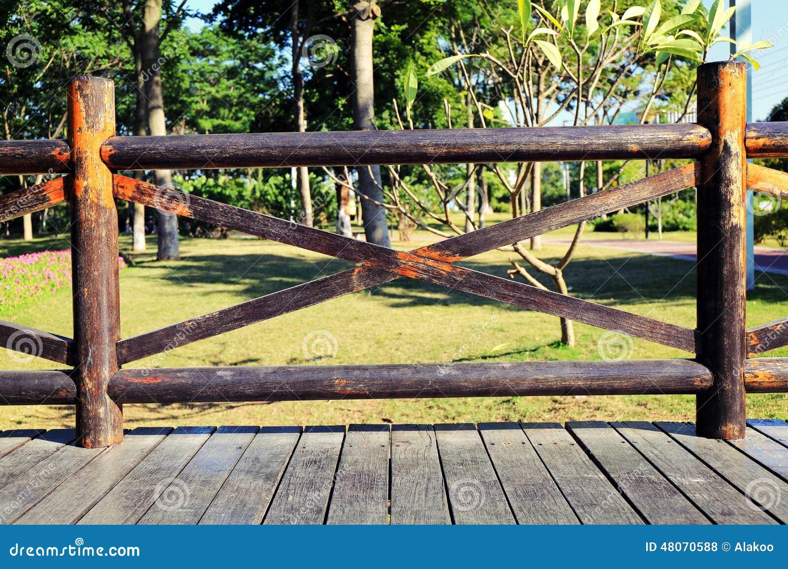 Wooden balustrade wood deck