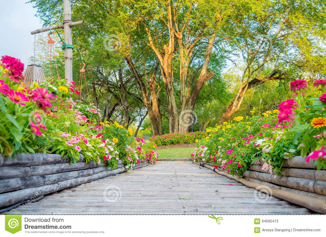 Wooden Bamboo Path Way With Beautiful Flowers Stock Image Image Of