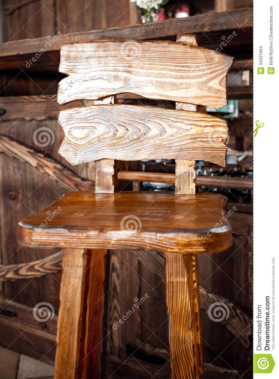 Wooden Bar Chair In Country Style Stock Photo Image