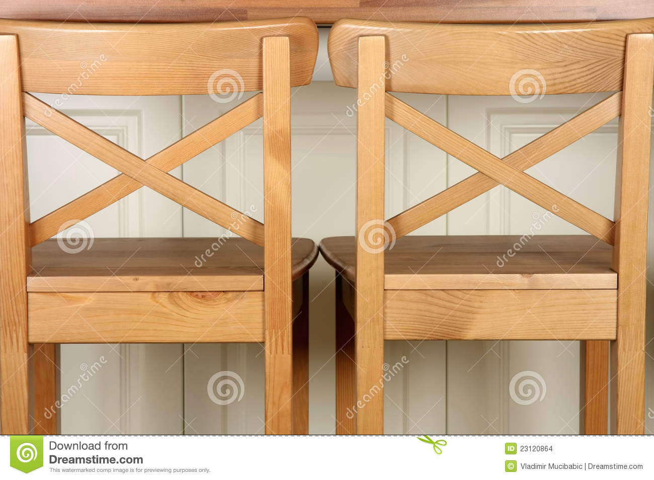 Wooden Bar Stool And Kitchen Counter