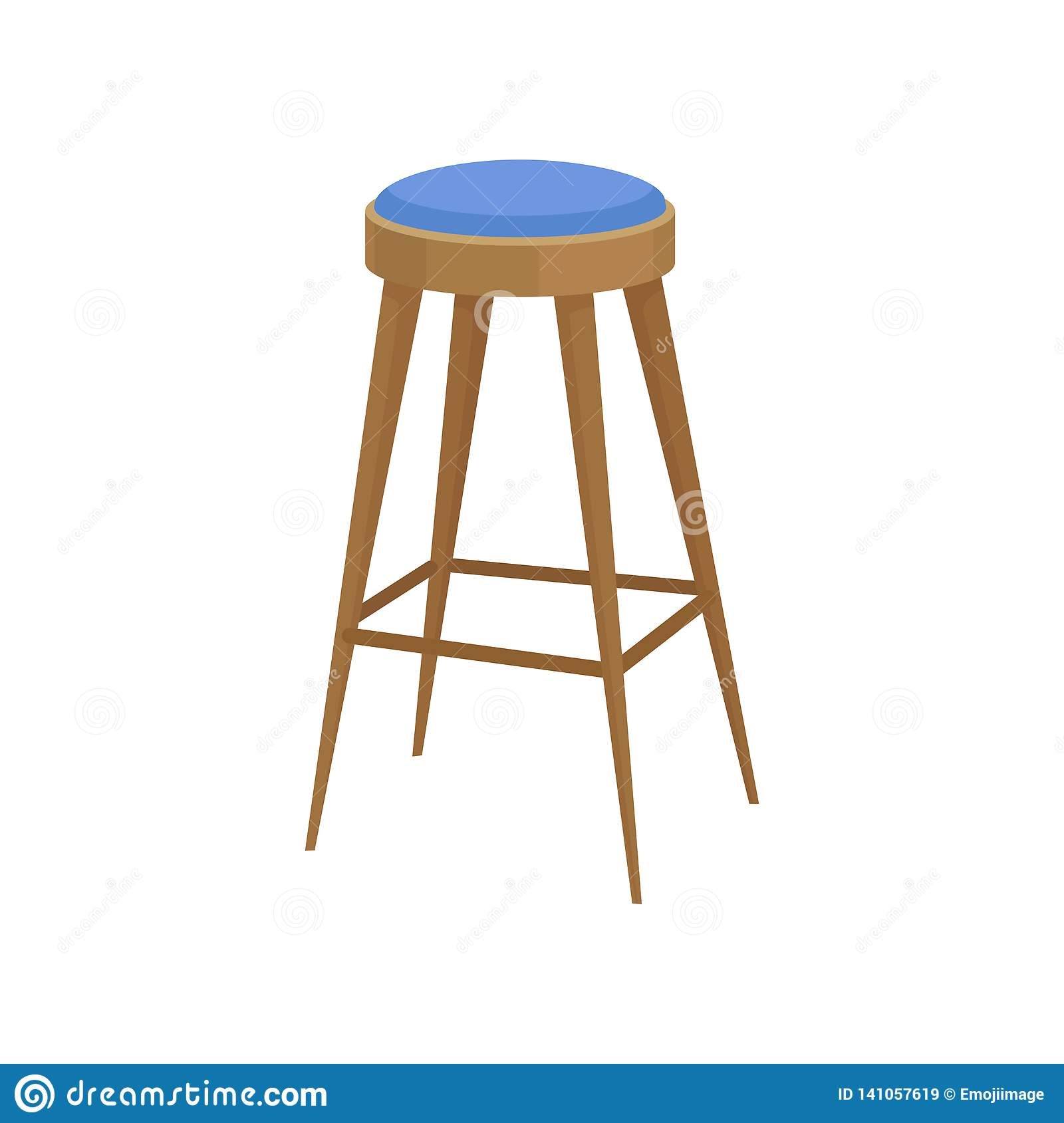 Terrific Wooden Bar Stool With Soft Bright Blue Seat Chair With Long Spiritservingveterans Wood Chair Design Ideas Spiritservingveteransorg
