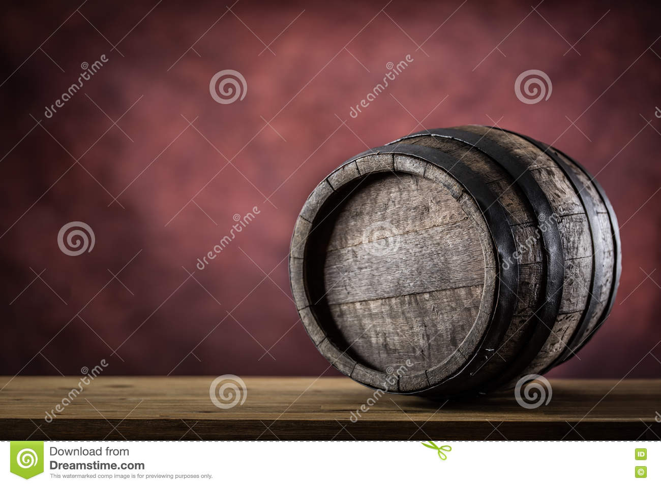 Wooden barel. Old wooden keg. Barel on beer vine whiskey brandy rum or cognac