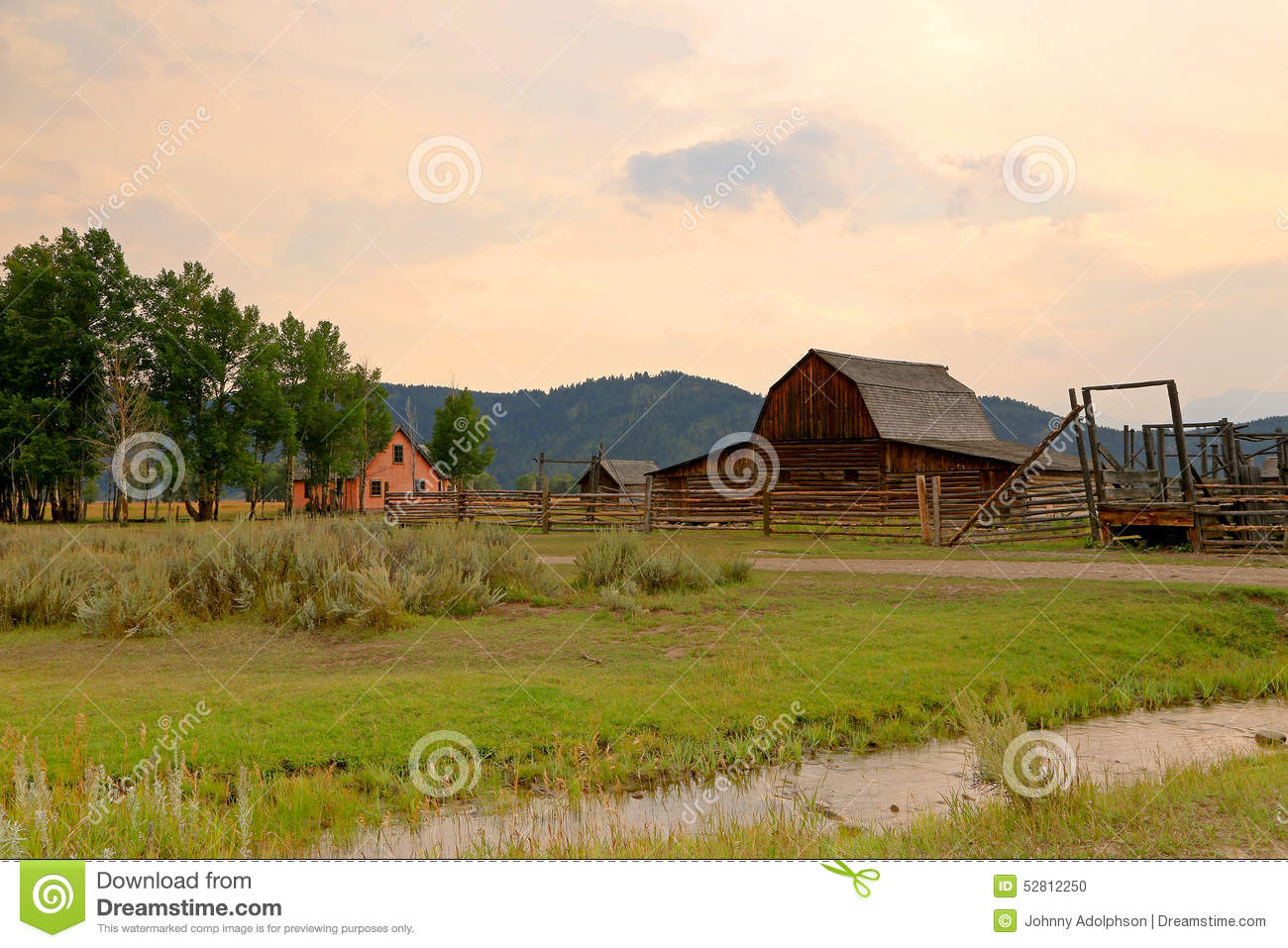 Wooden barn and corral in the tetons stock photo image Usa countryside pictures