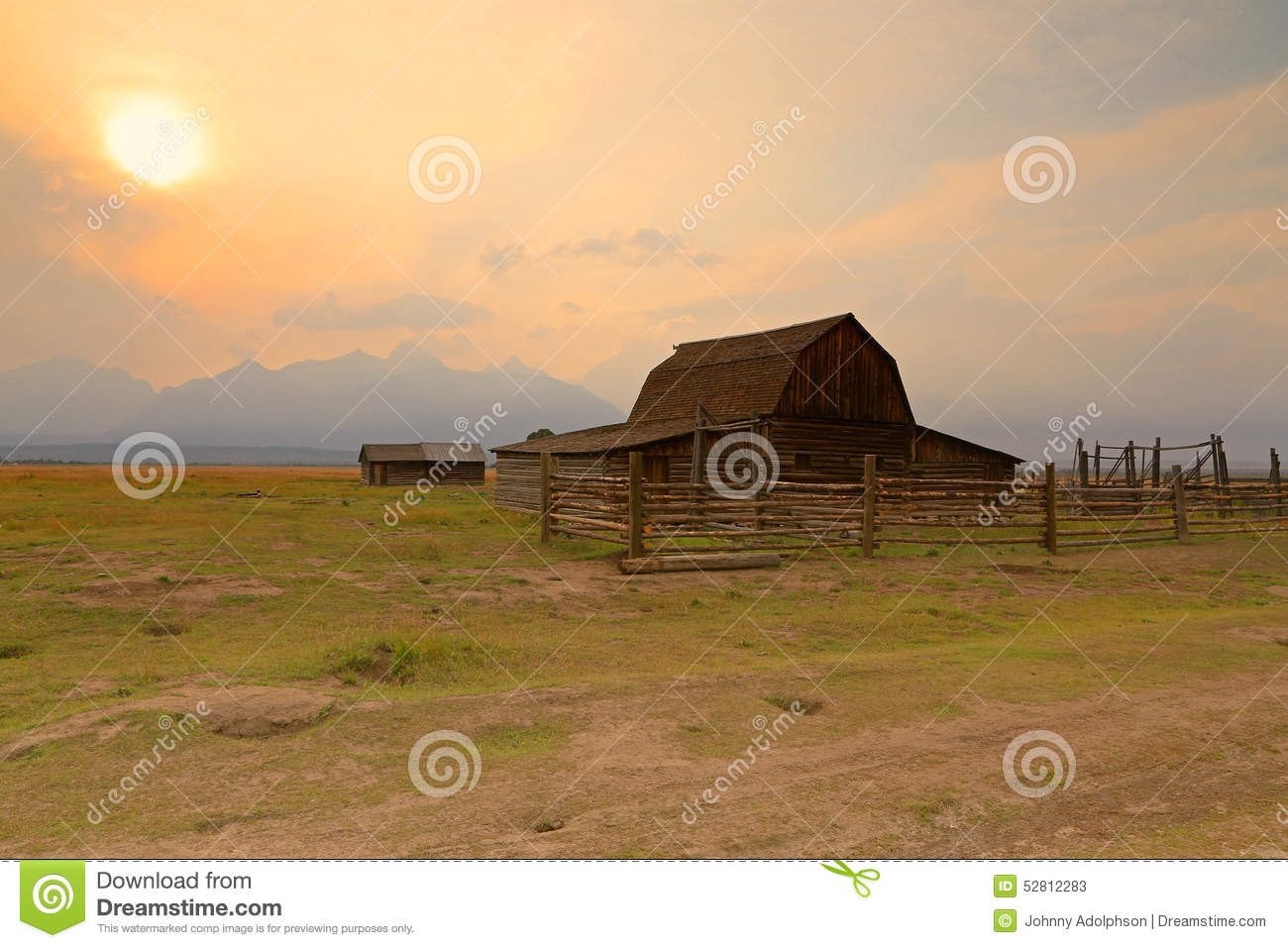 Wooden barn and corral in the tetons Usa countryside pictures