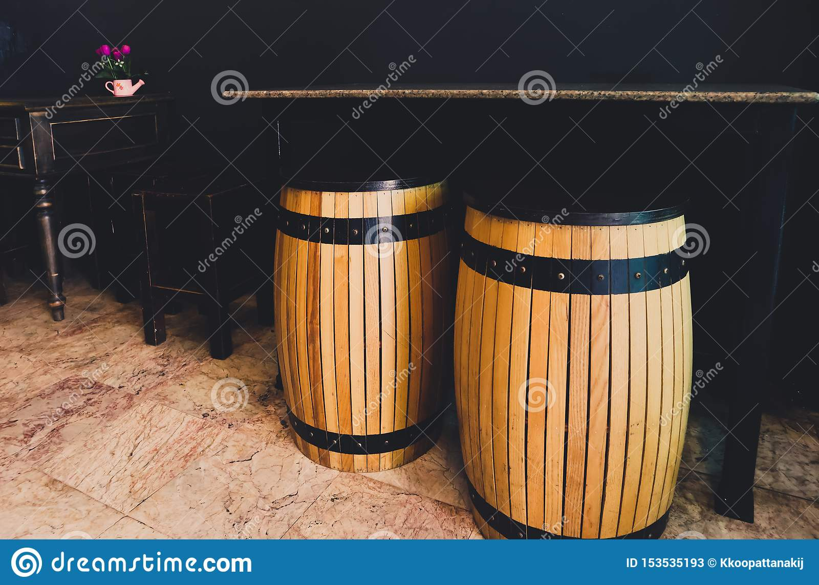 The Wooden Barrel As Seats Place With Marble Table The Set Of Black Antique Wooden Chairs And Desk In The Nearby The Interior Stock Image Image Of Coffee Place 153535193