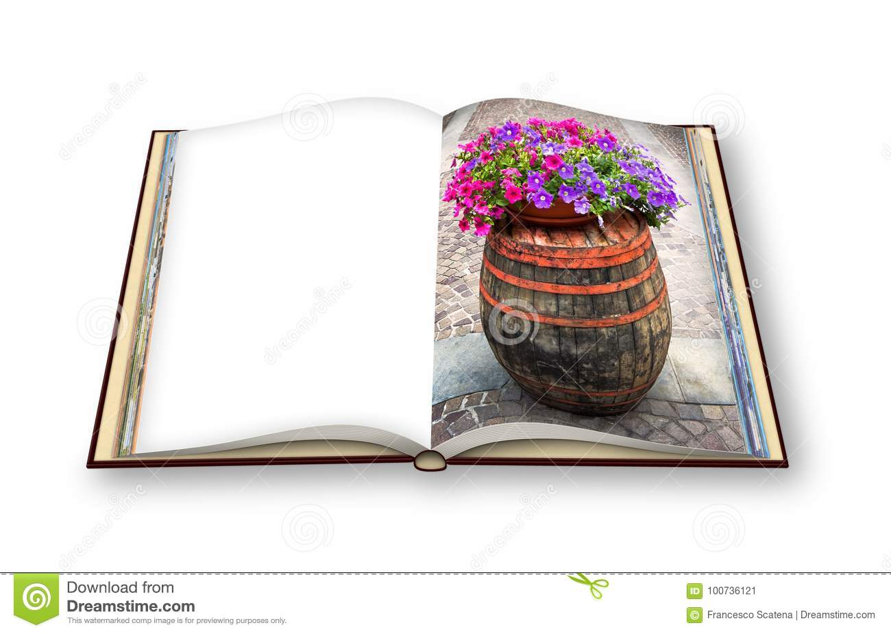Wooden barrel with flowerpot above - 3D render photo book concept image with space for text