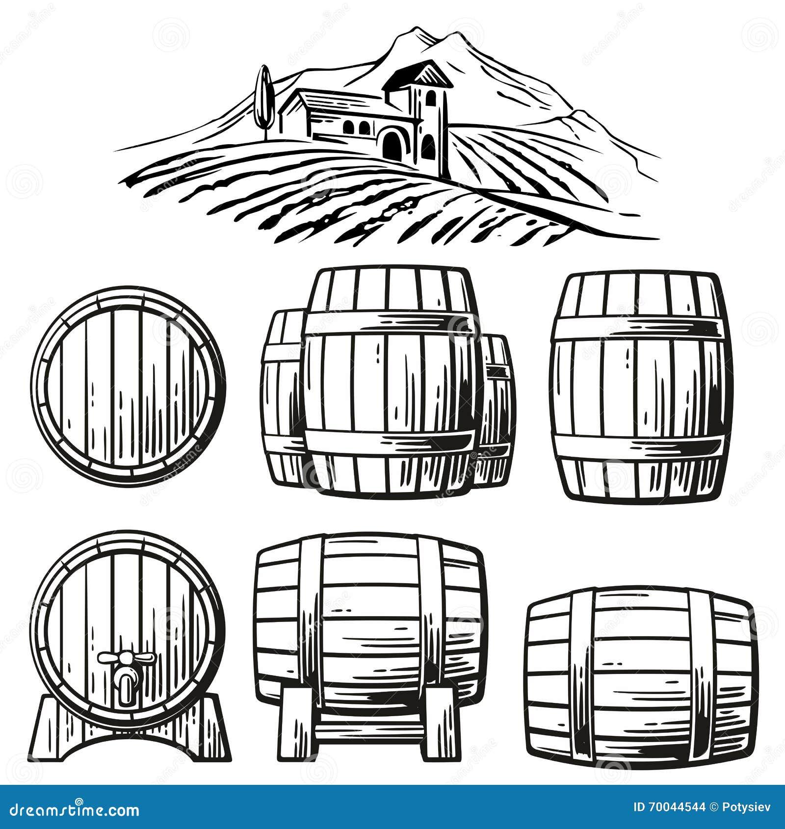 Wooden barrel set and rural landscape with villa, vineyard fields, hills, mountains. Black and white vintage vector illustration
