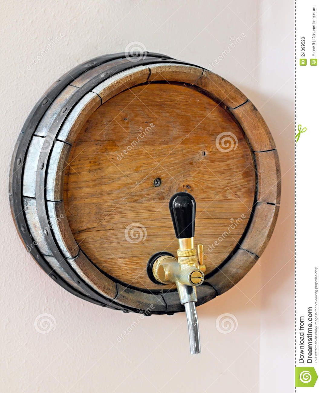 Wooden barrel with a tap