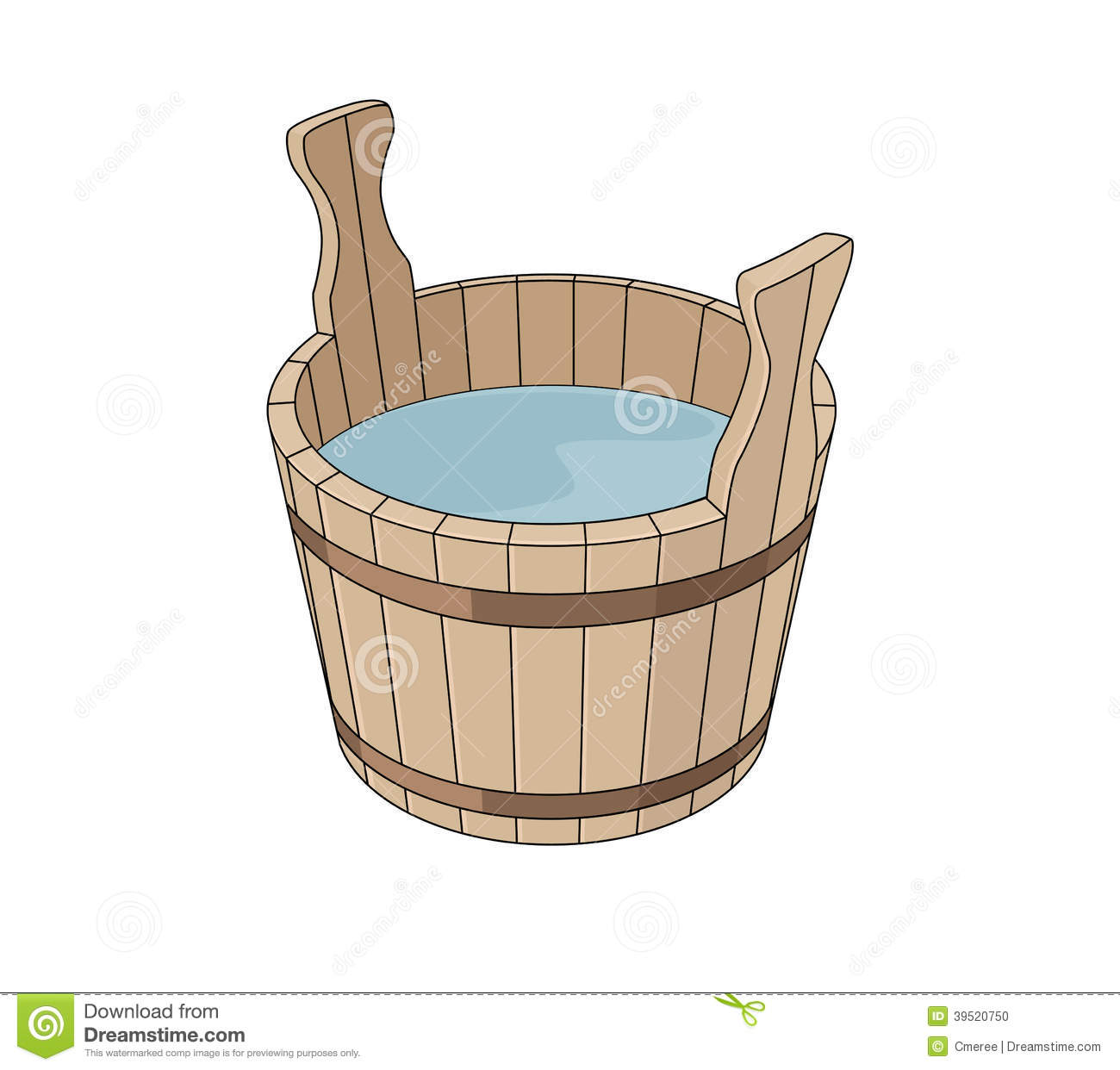 Wooden Basin Stock Vector Image 39520750