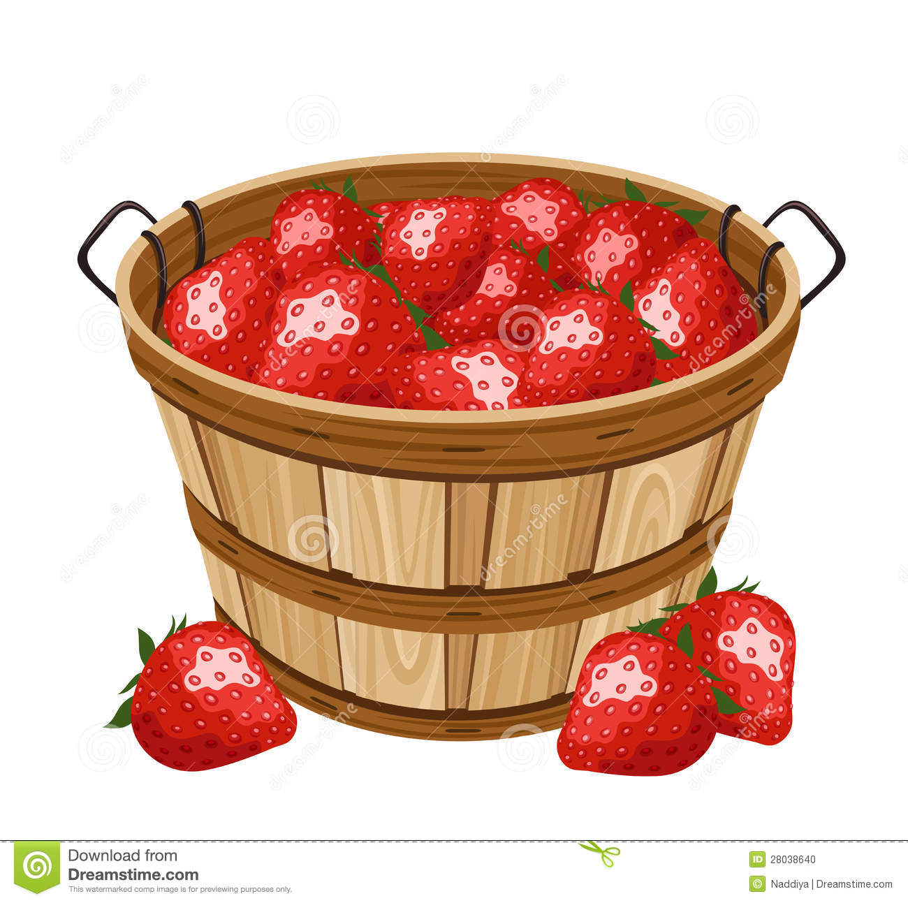 Wooden Basket With Strawberry Vector Illustration Stock
