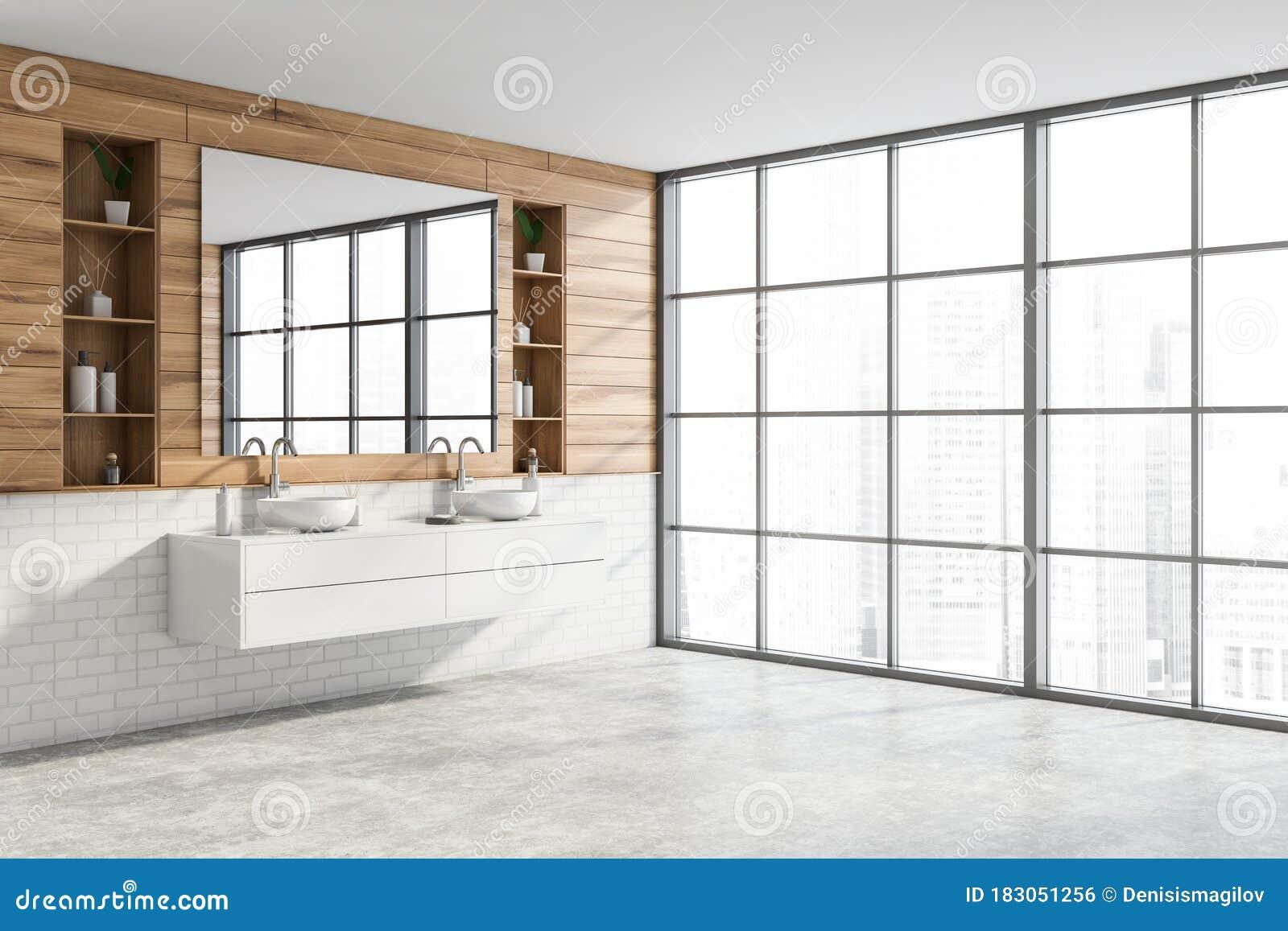 Wooden Bathroom Corner With Double Sink Stock Illustration Illustration Of Floor Illustration 183051256