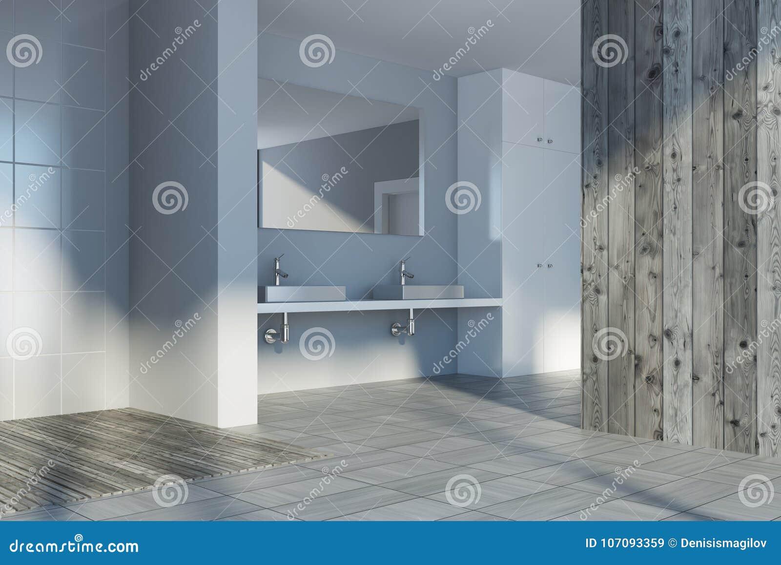 Wooden Bathroom Corner, Double Sink Stock Illustration ...