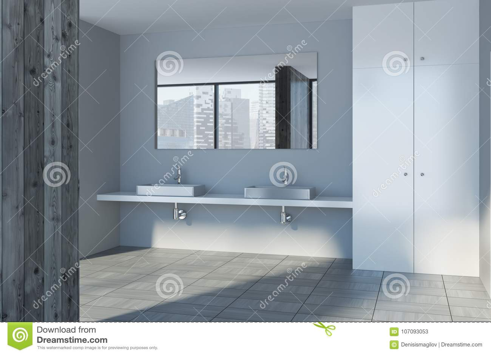 Wooden Bathroom Interior, Double Sink Stock Illustration ...