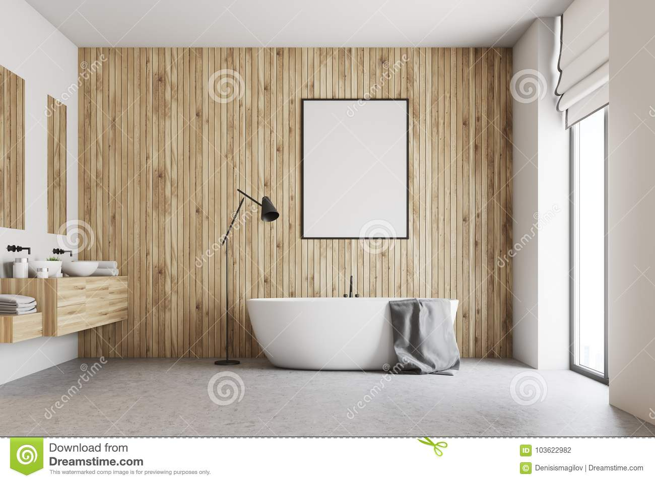Wooden Bathroom With A Poster Stock Illustration Illustration Of Decor Empty 103622982