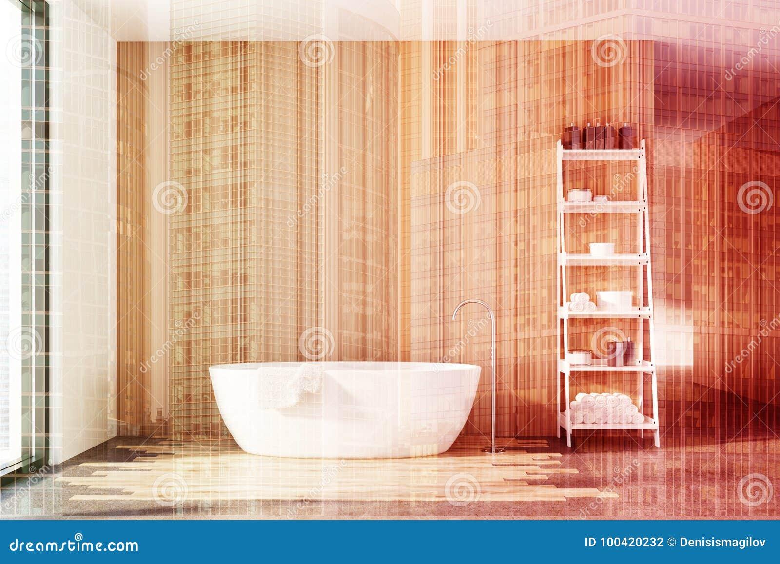 Wooden Bathroom, White Tub, Shelves Double Stock Illustration ...