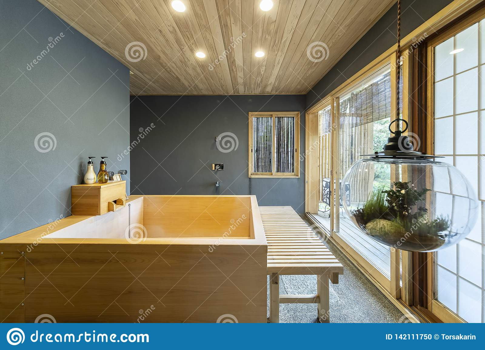 Wooden Bathtub Stock Photo Image Of Japanese Private 142111750