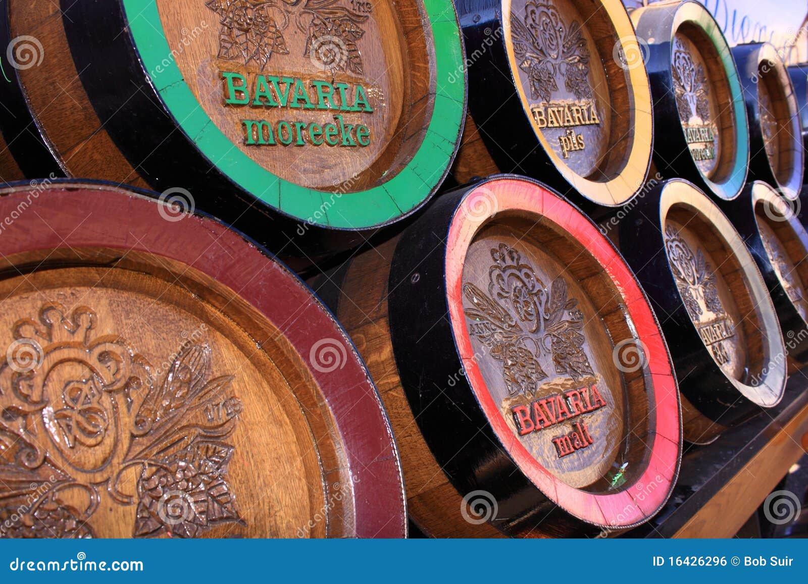 Wooden bavaria beer barrels
