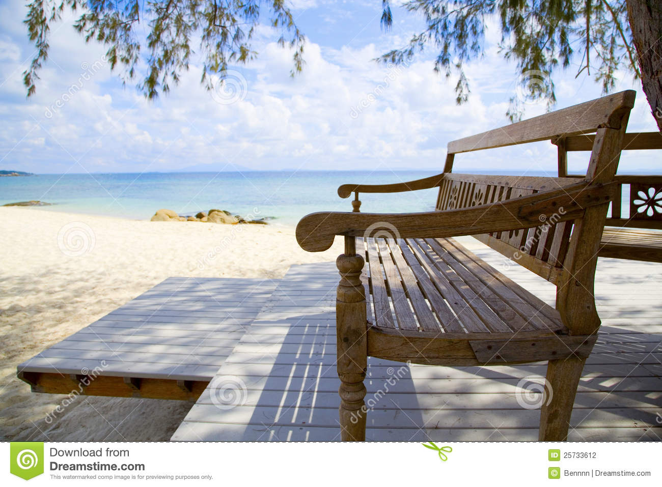 Wooden Beach Bench And The Sea Stock Photography - Image ...