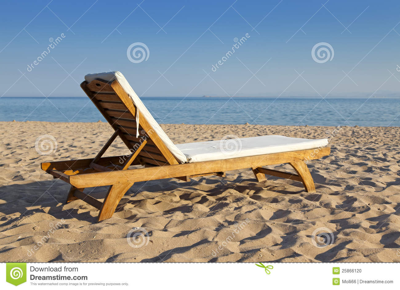 Stock Photo Wooden Beach Chair At Ocean Front Image