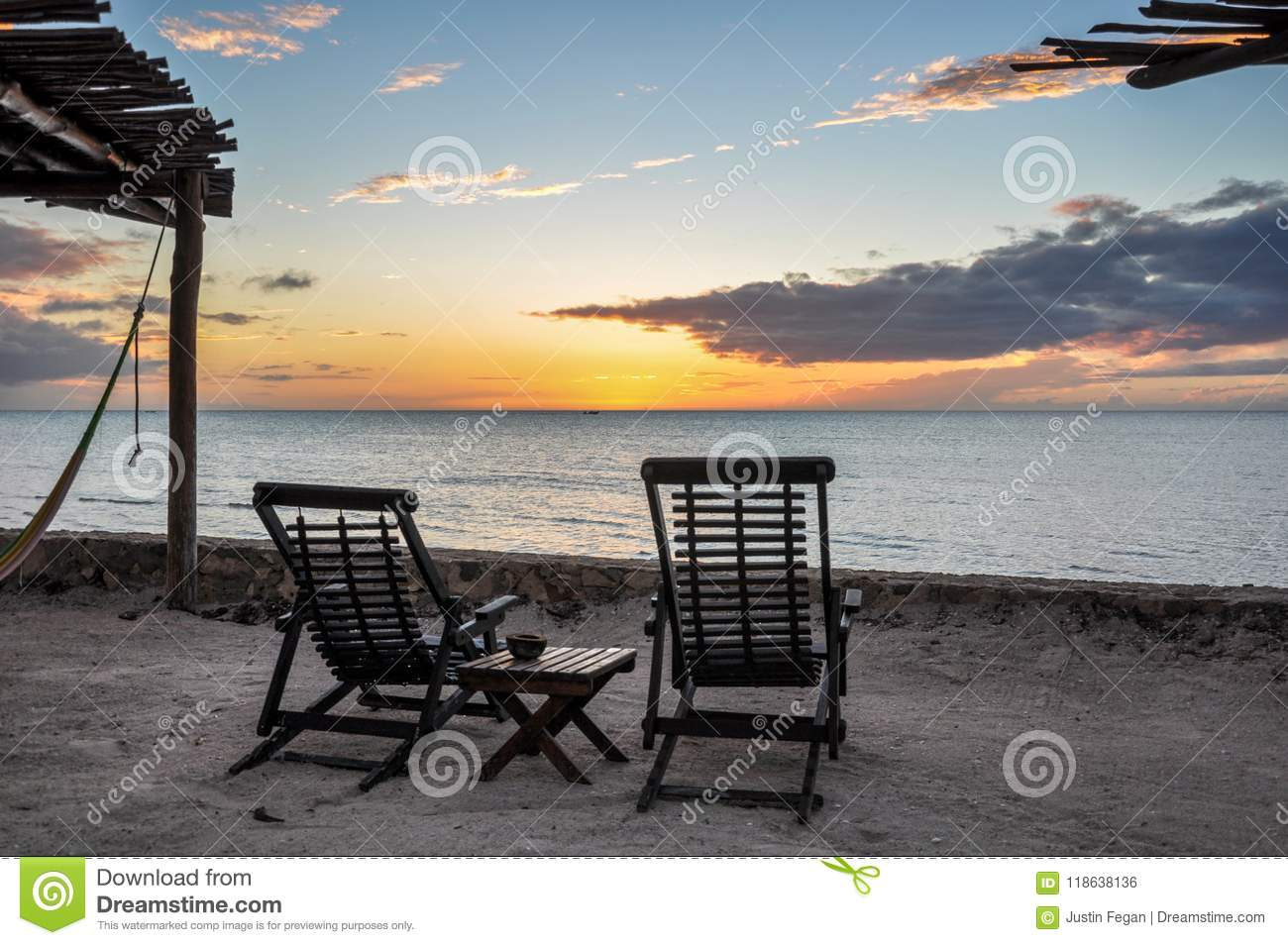 Beach Chairs overlooking sunset at Holbox Island, Mexico