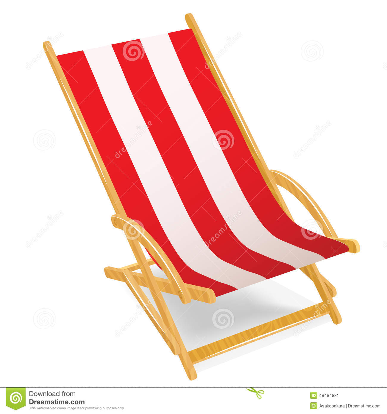 Wooden beach chaise longue isolated on white stock vector for Beach chaise longue