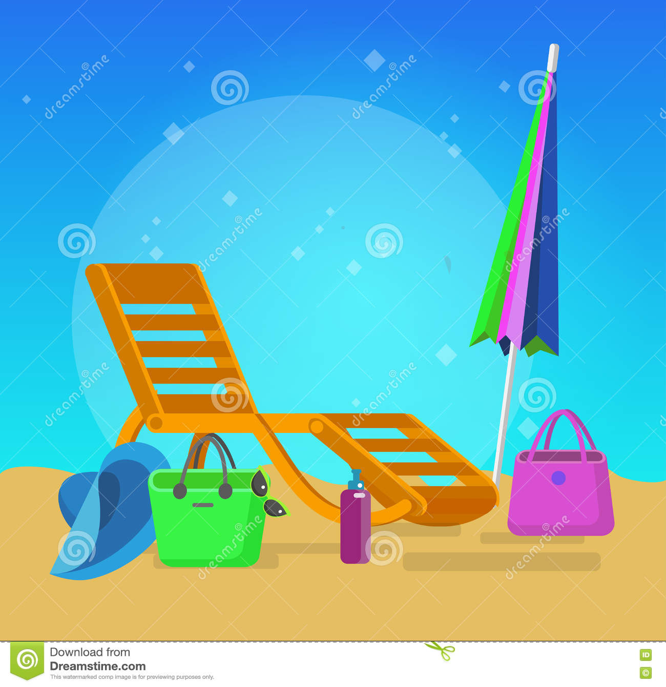 Wooden beach chaise longue stock vector image 71643895 for Beach chaise longue