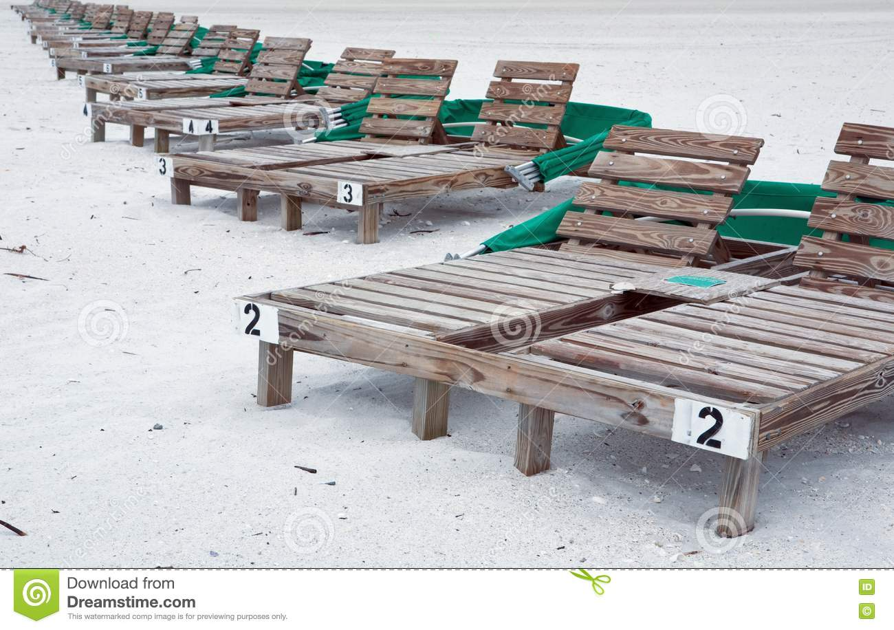 Wooden Beach Lounge Chairs Stock Photo Image Of Lounging