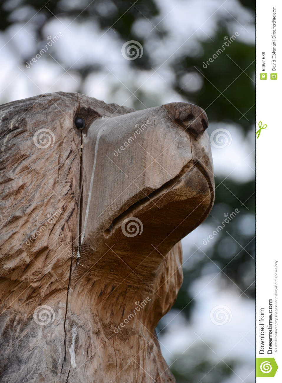 Wooden Bear Stock Photo Image Of Statue Head Wooden 54651588