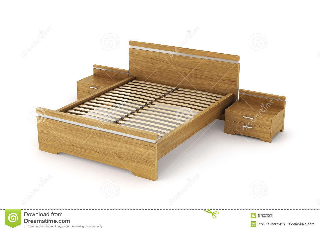 wooden bed with bedside tables