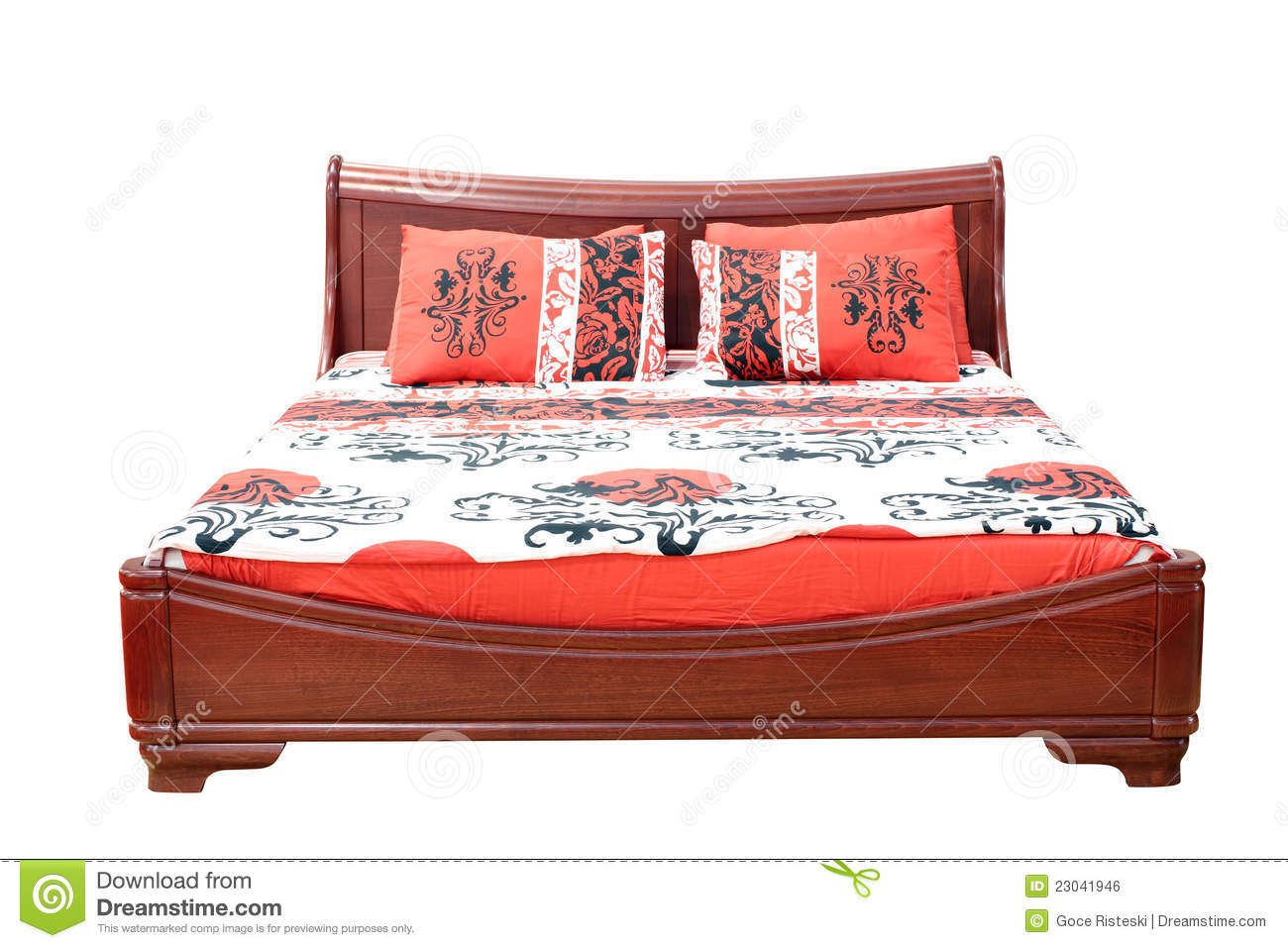 Very Impressive portraiture of Wooden Bed With Colorful Linen Royalty Free Stock Image Image  with #BB1E10 color and 1300x957 pixels