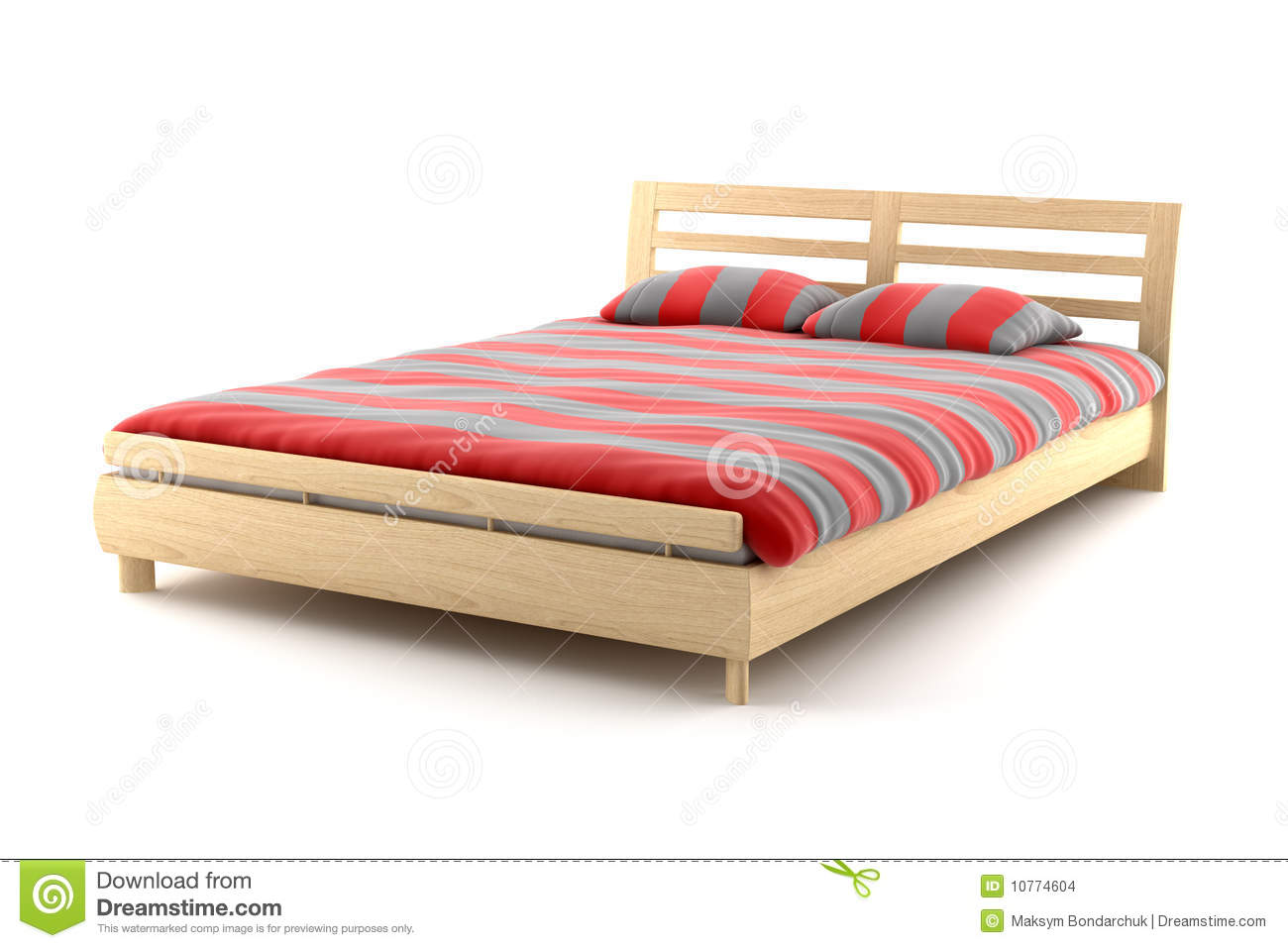 Wooden Bed Isolated On White Background Stock Images - Image: 10774604
