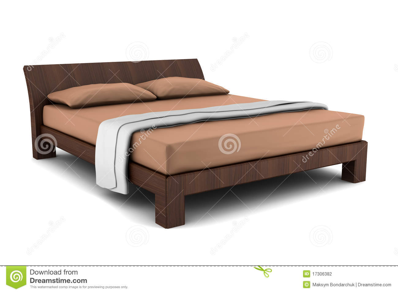 Wooden bed isolated on white background stock photography - Modelos de camas de madera ...
