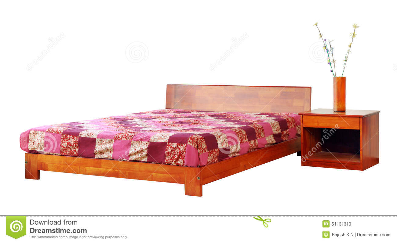 Wooden Bed With Mattress And Side Table. Stock Photo