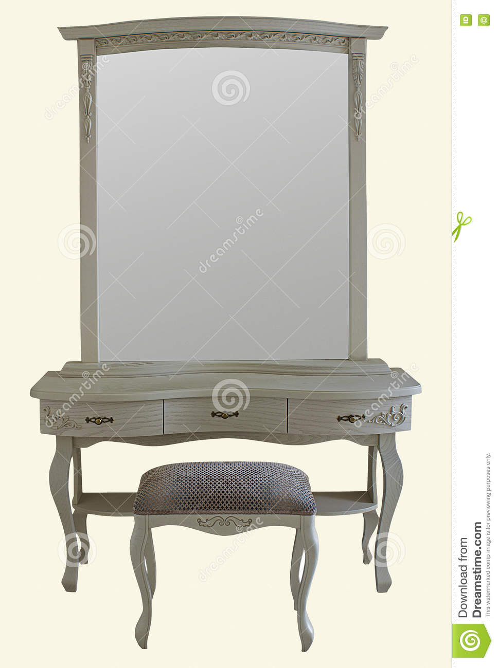 wooden bedroom dressing table set with stool and mirror stoc