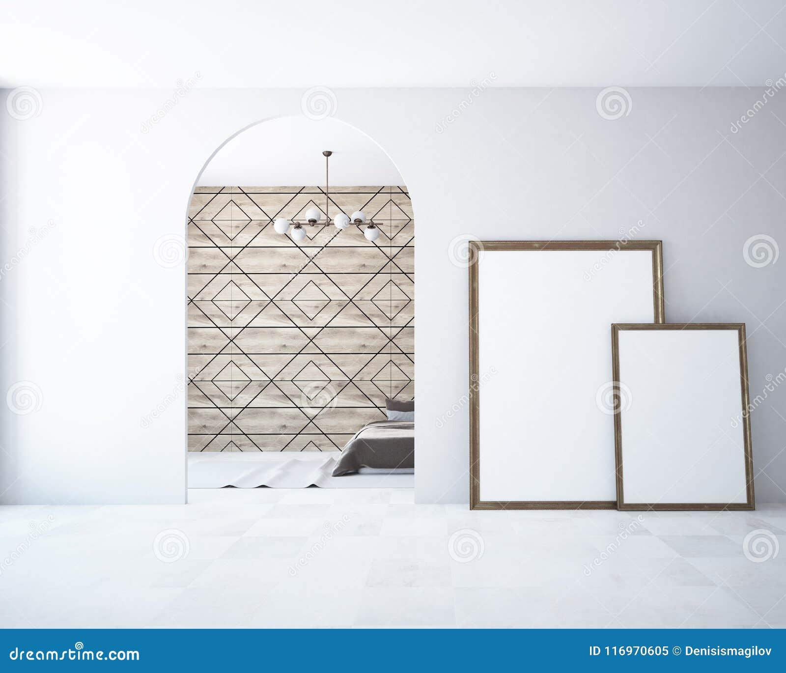 Wooden Bedroom, Frame Poster Mock Up Arched Door Stock Illustration ...