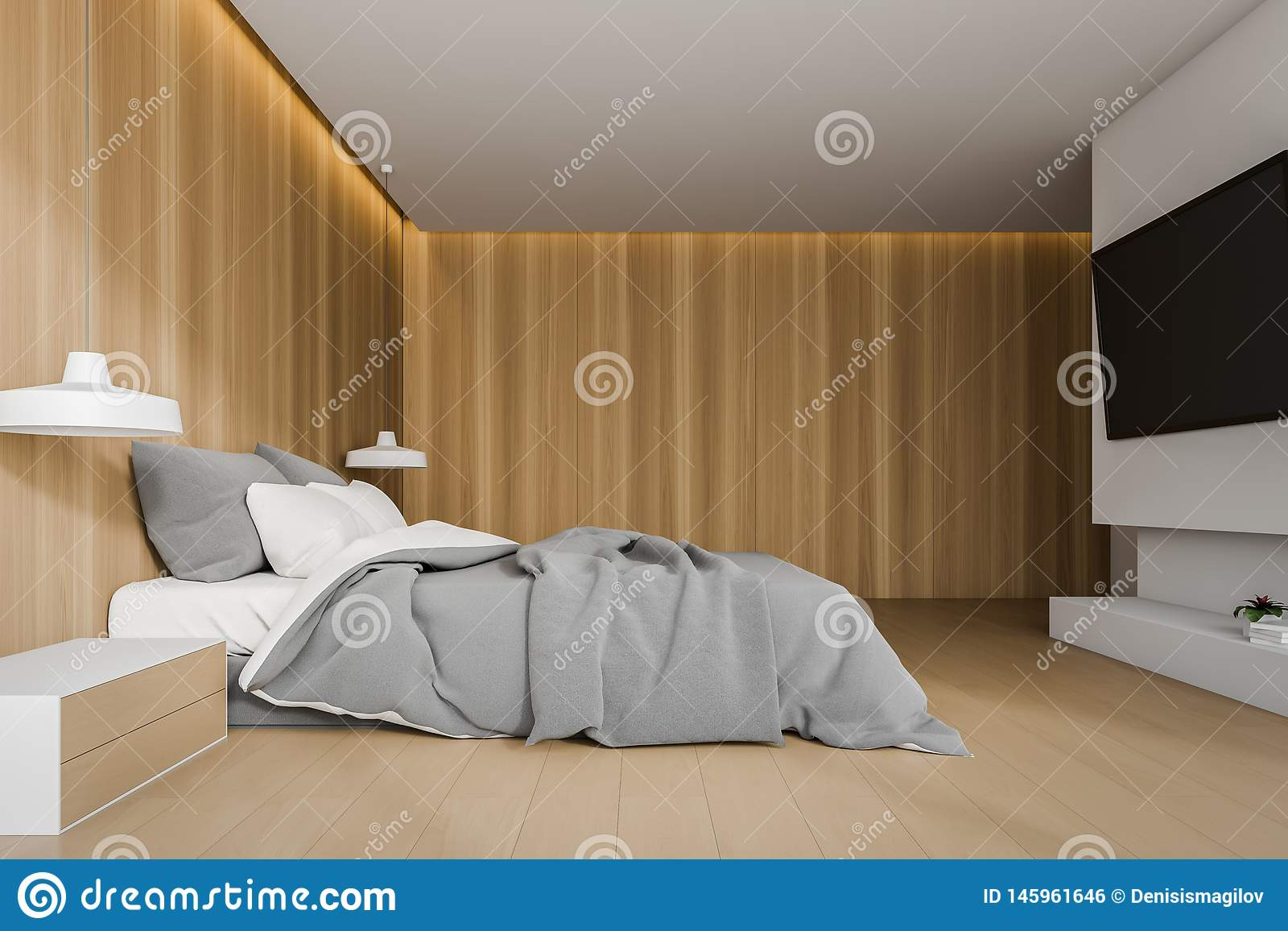 Wooden Bedroom Interior With Tv Set Stock Illustration