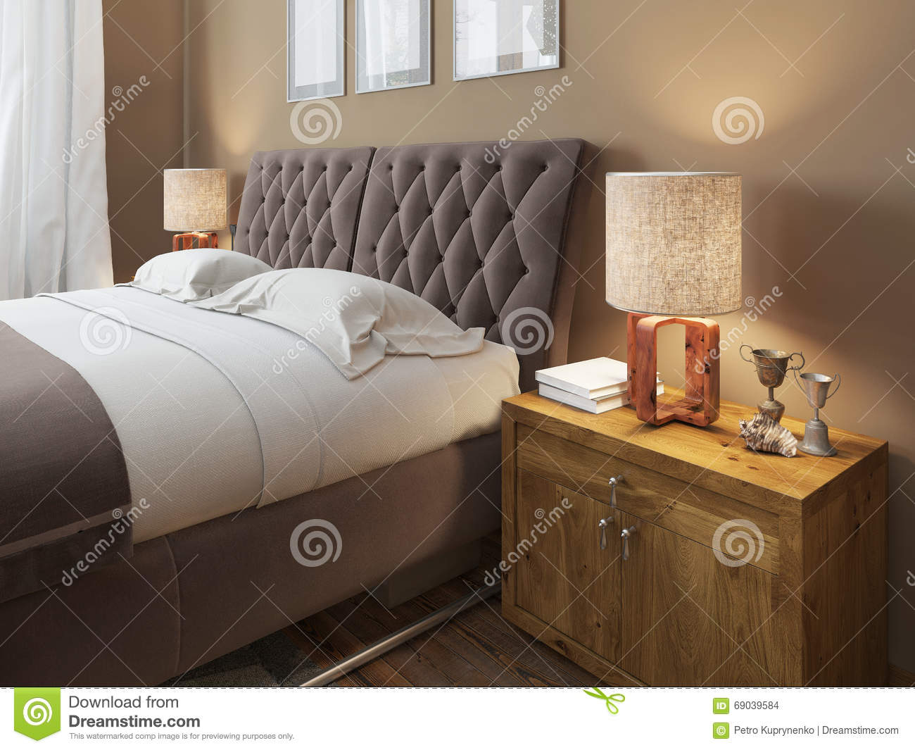 Wooden Bedside Tables With Expressive Textures In A Modern Bedroom Stock Illustration Illustration Of Interior Beautiful 69039584
