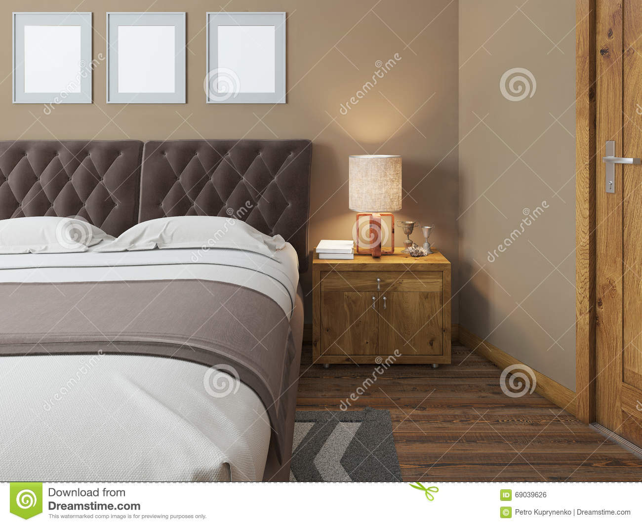 Wooden Bedside Tables With Expressive Textures In A Modern Bedroom Stock Illustration Illustration Of Beautiful Decor 69039626