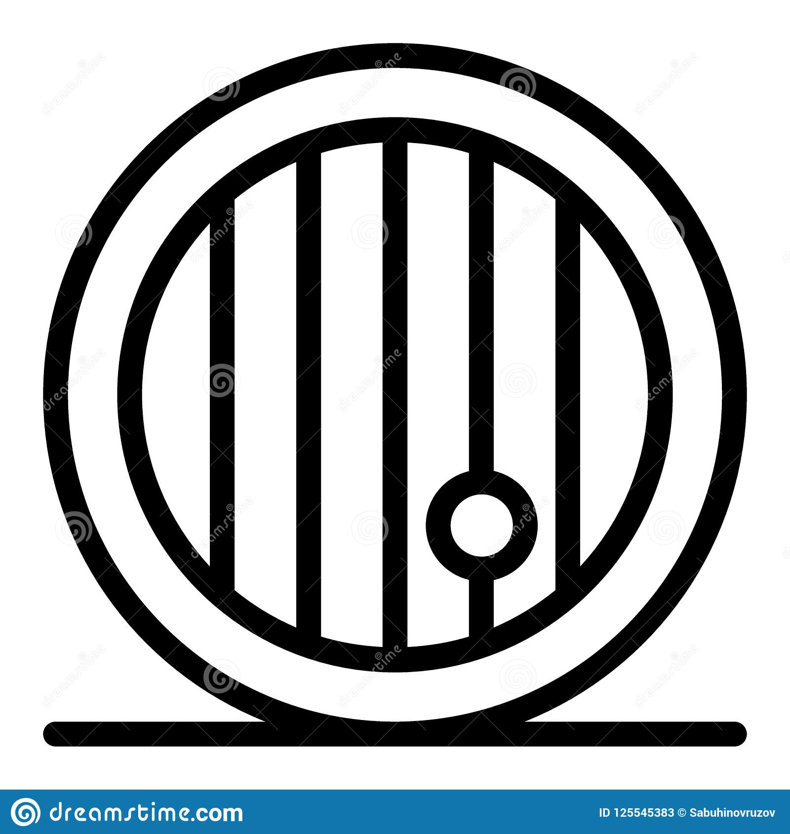 Wooden beer barrel line icon. Cask of beer vector illustration isolated on white. Frontal beer barel outline style