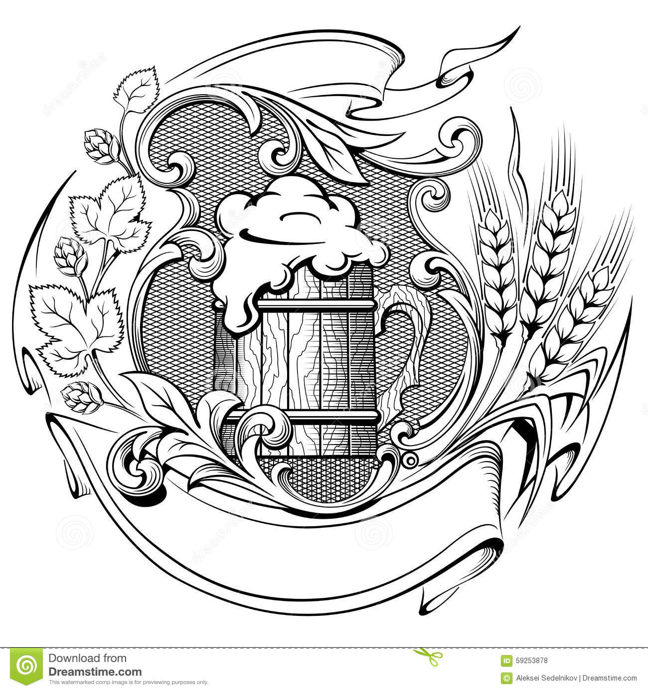 One Line Art Beer : Wooden beer mug with a wreath of hops and ears wheat