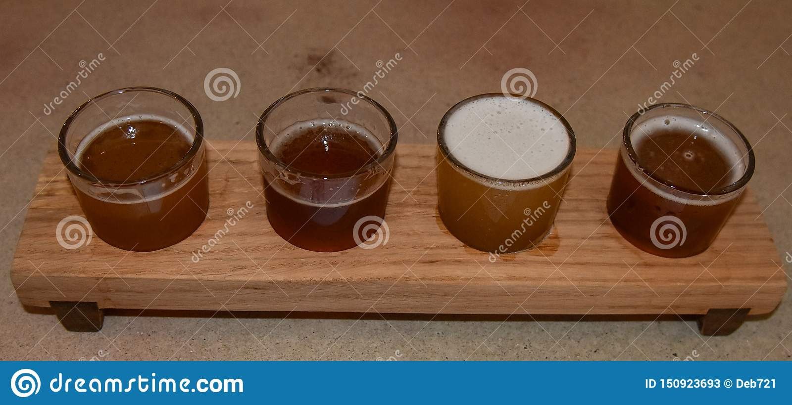 Wooden Beer Sampling Tray With Four Brews Stock Image Image Of