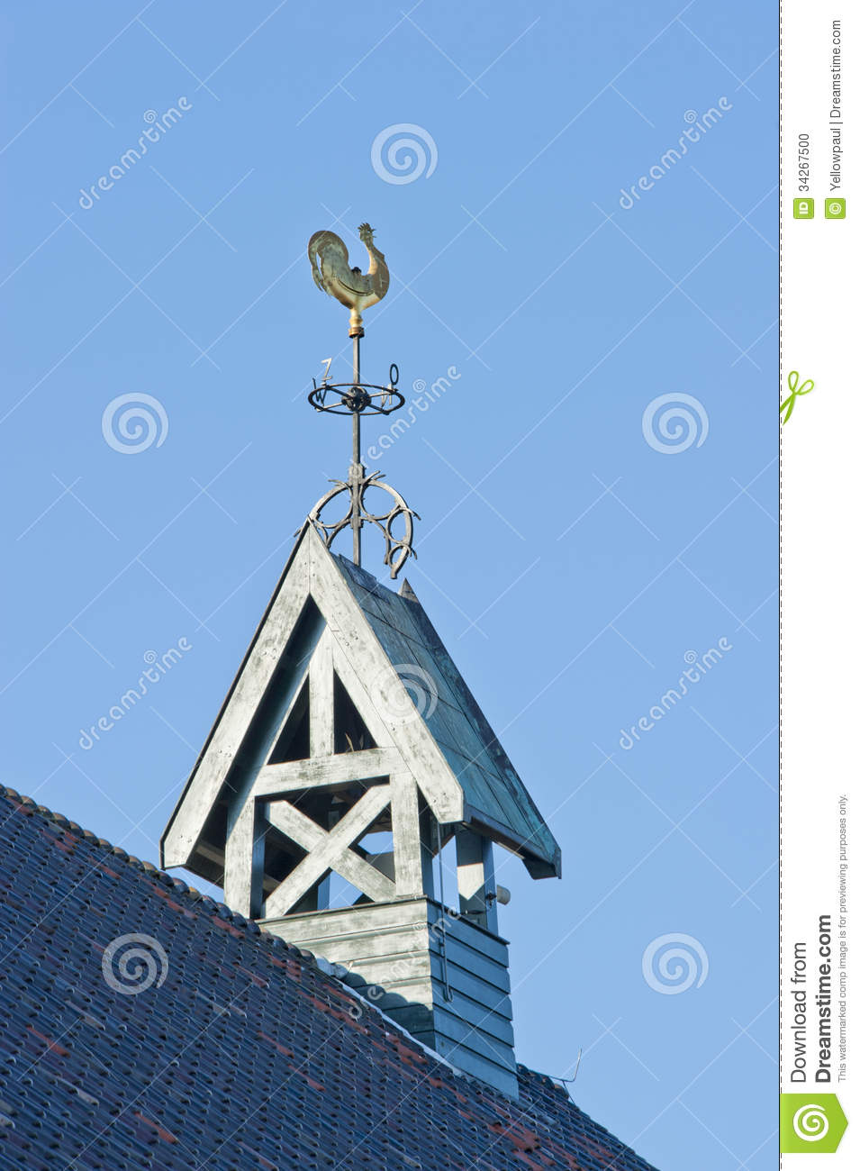Wooden Belfry With Weather Vane And Compass Card Stock