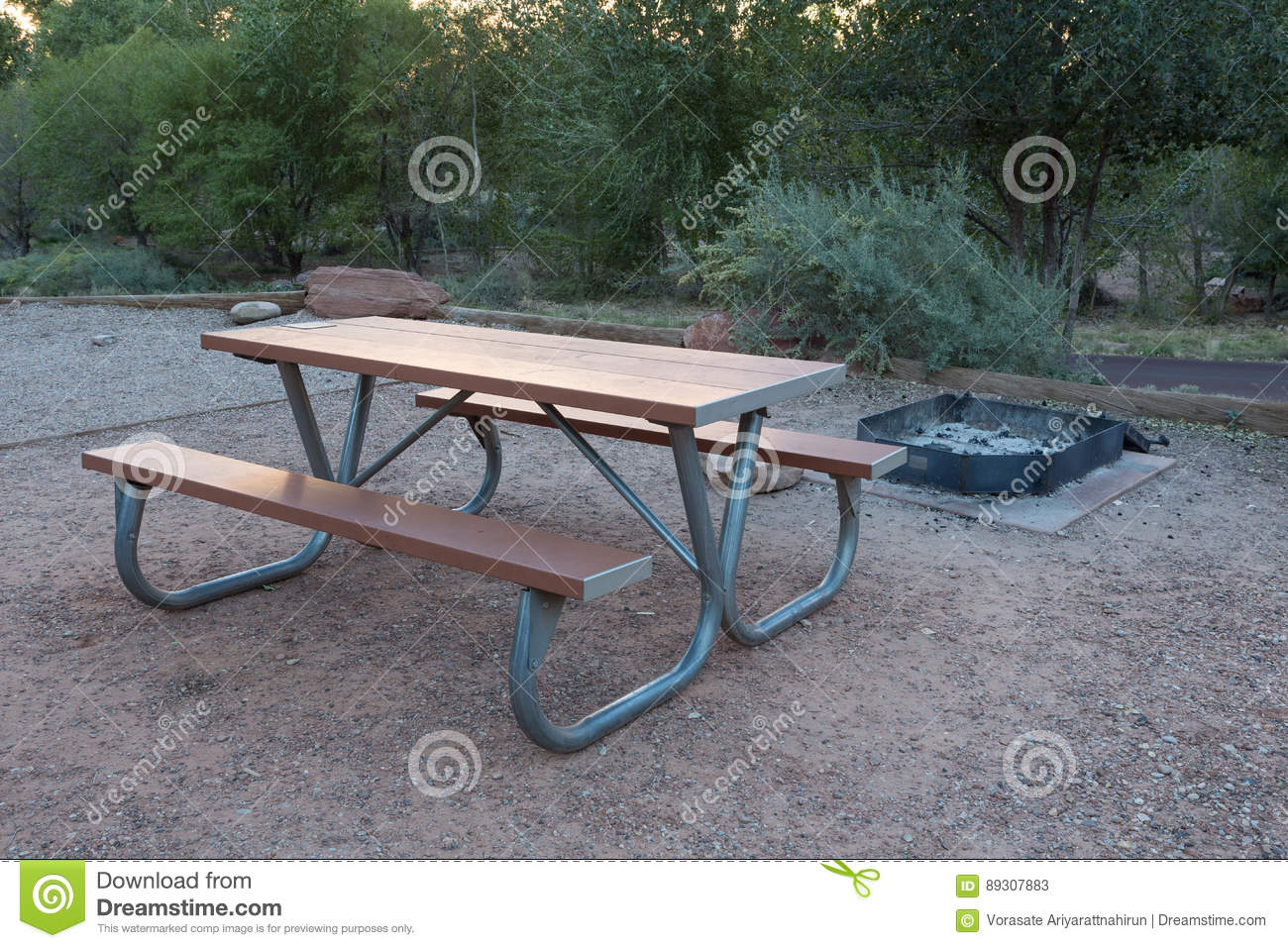 Marvelous Wooden Bench In Camping Area Stock Image Image Of Nature Frankydiablos Diy Chair Ideas Frankydiabloscom