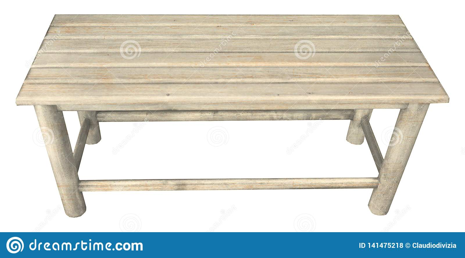 Superb Wooden Bench Chair Isolated Over White Stock Photo Image Onthecornerstone Fun Painted Chair Ideas Images Onthecornerstoneorg