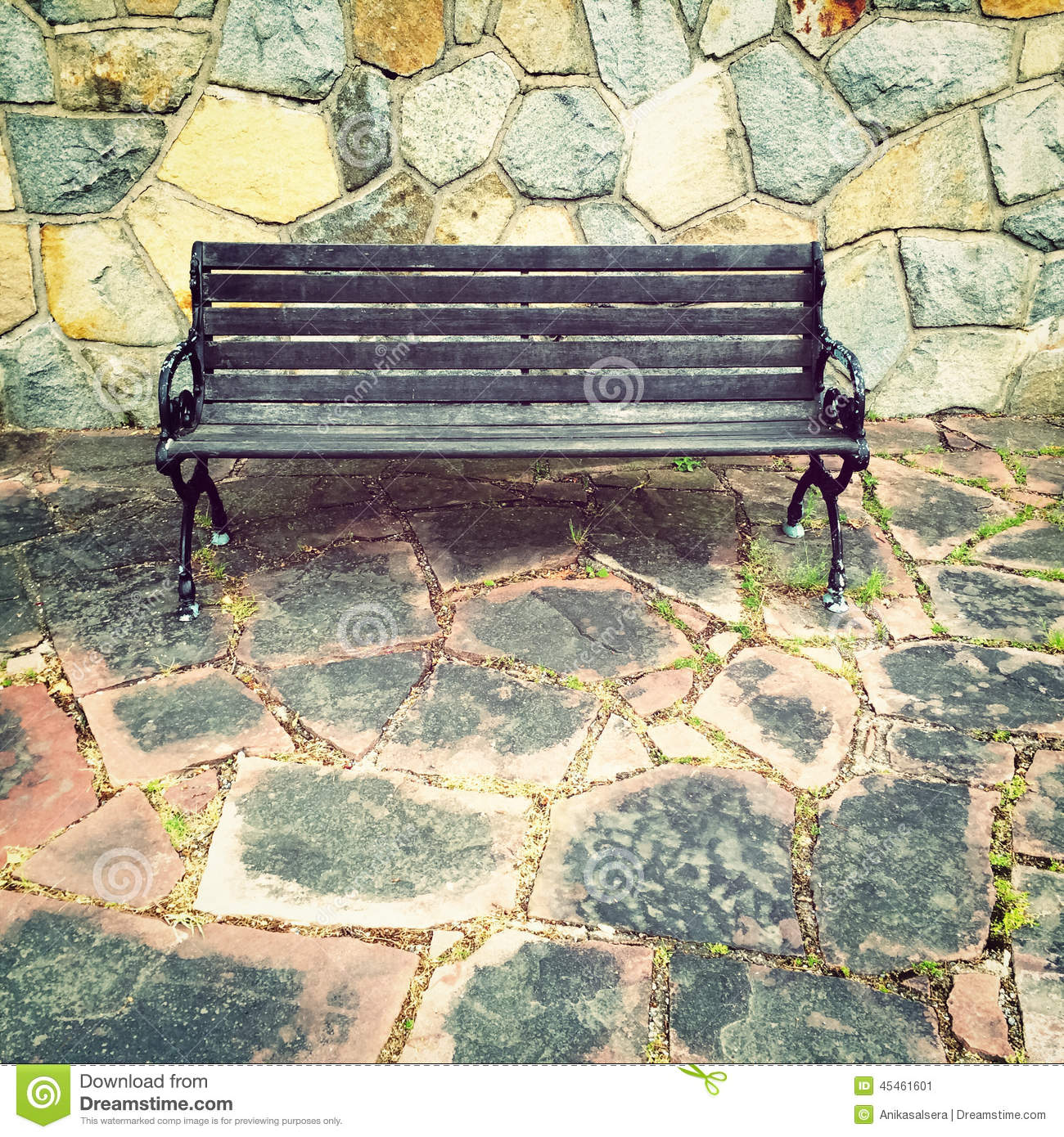 Wooden Bench On Colorful Tile Background Stock Photo - Image: 45461601