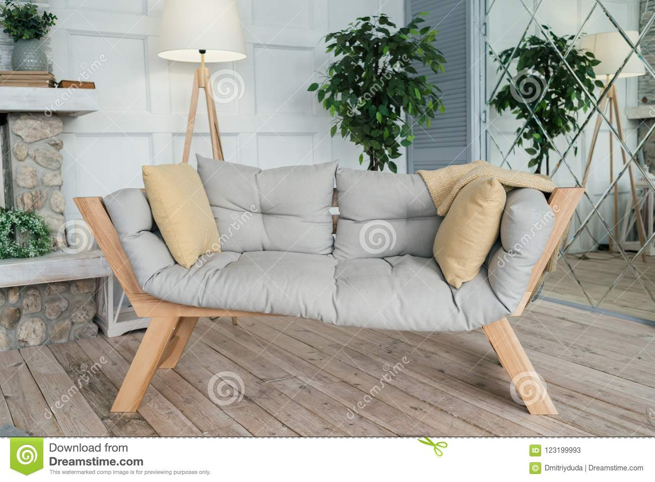 Picture of: Wooden Bench With Cushions For Relaxing Interior Living Room Stock Image Image Of Hotel Decoration 123199993