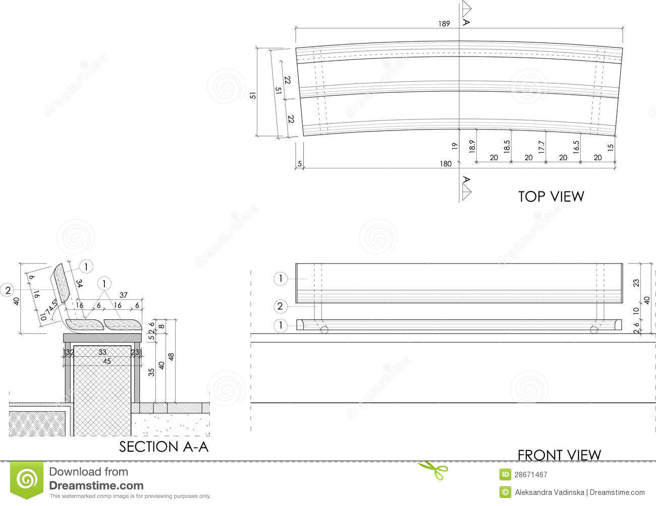 Wooden Bench Drawing Royalty Free Stock Photography