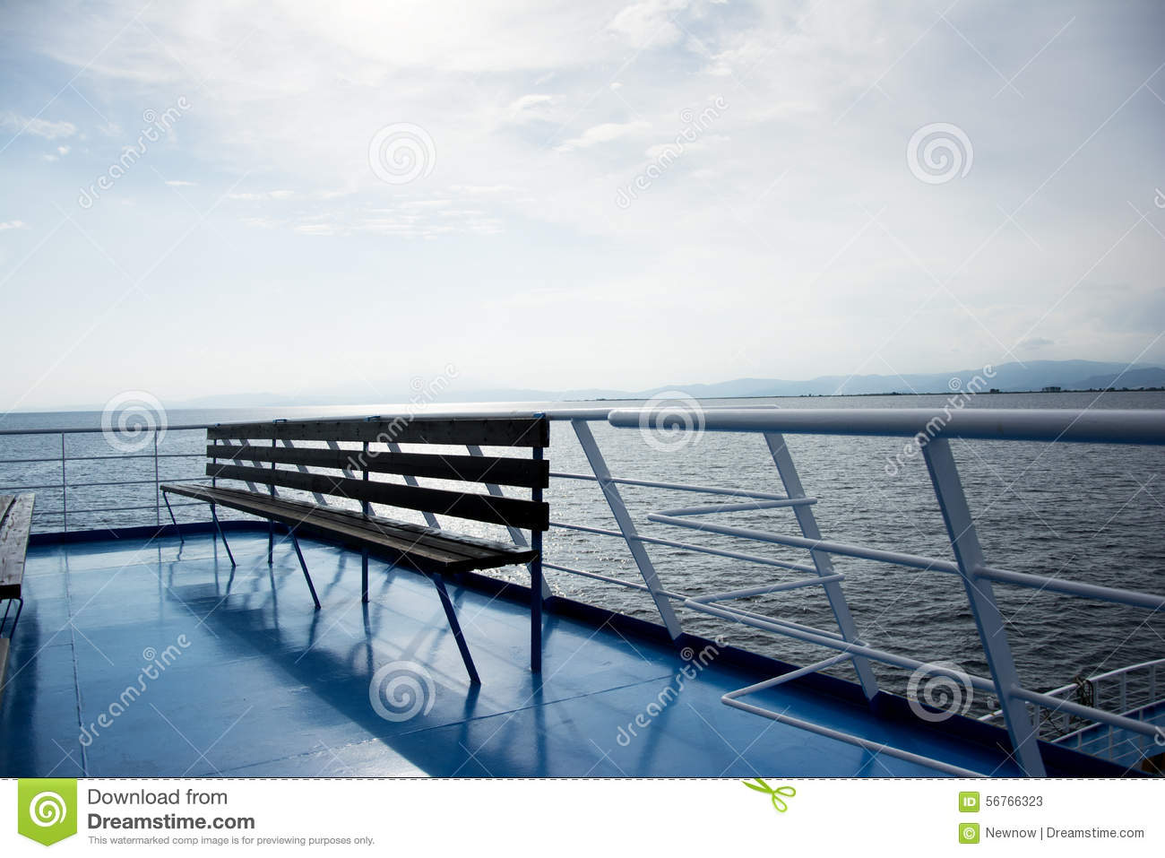 Astonishing Wooden Bench On A Ferry Boat Stock Image Image Of Ocean Evergreenethics Interior Chair Design Evergreenethicsorg