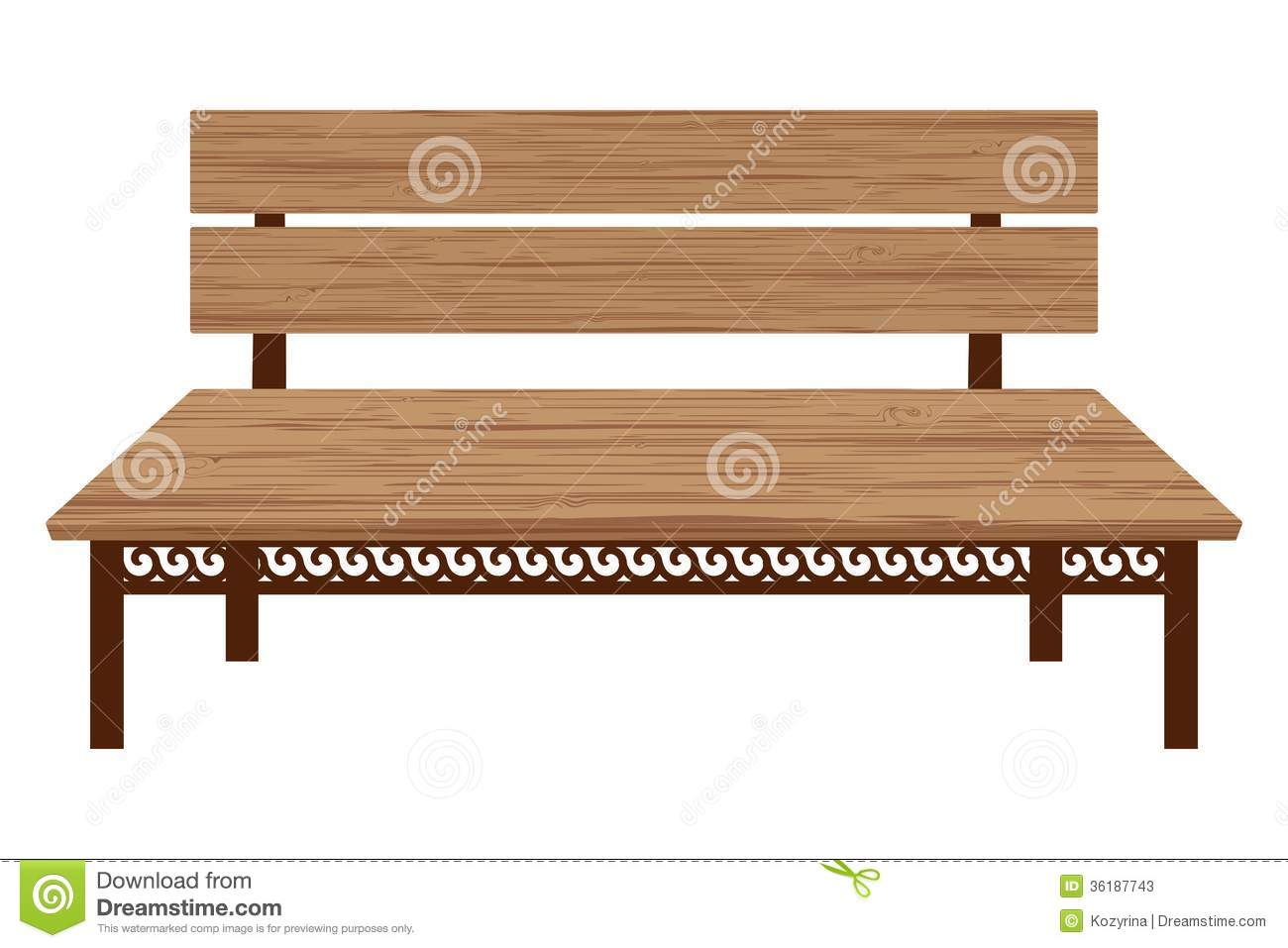 Wooden bench stock vector. Image of antique, forge ...