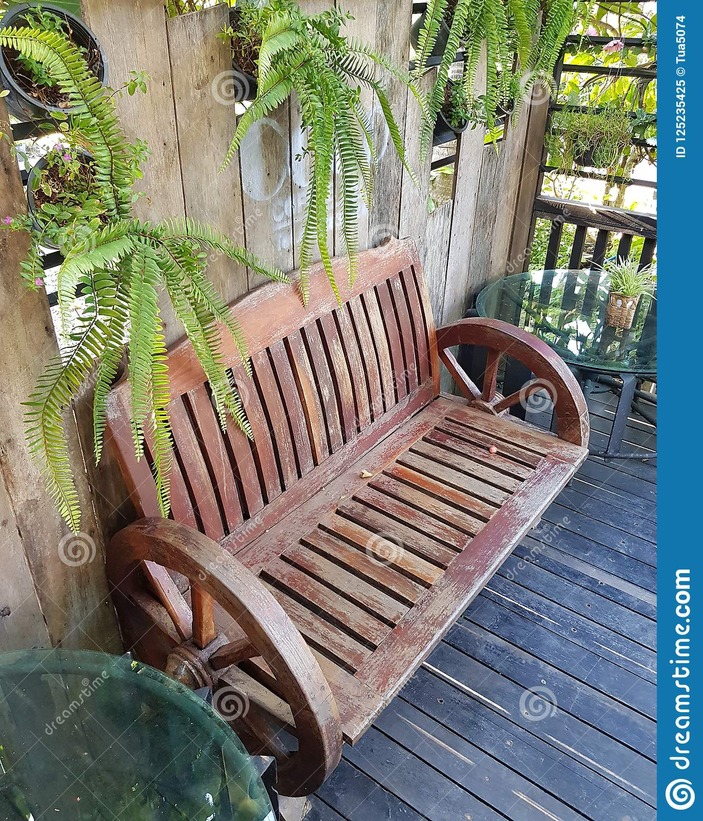 Stupendous Wooden Bench In Garden Stock Image Image Of Chair Family Alphanode Cool Chair Designs And Ideas Alphanodeonline